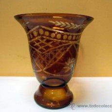 Antigüedades - Jarrón cristal tallado color ámbar - 37309365