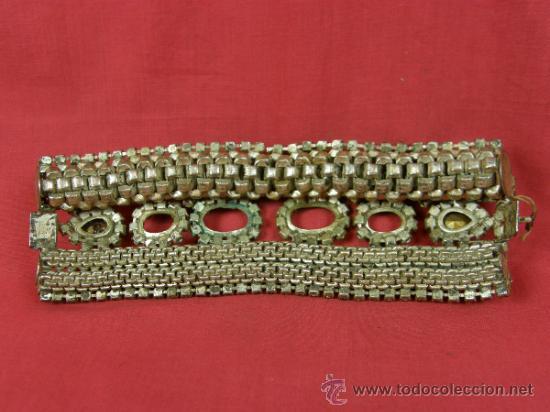 Antigüedades: brazalete pulsera de variedades 1950 faltan piedras en cabujón ovalados nobleza mujer - Foto 2 - 37328805