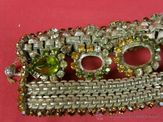 Antigüedades: brazalete pulsera de variedades 1950 faltan piedras en cabujón ovalados nobleza mujer - Foto 4 - 37328805