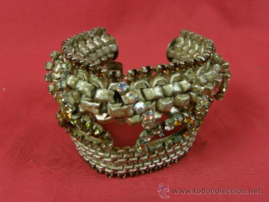 Antigüedades: brazalete pulsera de variedades 1950 faltan piedras en cabujón ovalados nobleza mujer - Foto 3 - 37328805