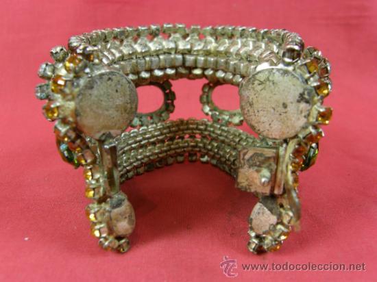Antigüedades: brazalete pulsera de variedades 1950 faltan piedras en cabujón ovalados nobleza mujer - Foto 5 - 37328805