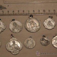 Antigüedades: LOTE DE MEDALLAS RELIGIOSAS BASTANTE ANTIGUAS DE ALUMINIO DESCONOCIDAS. Lote 37330476
