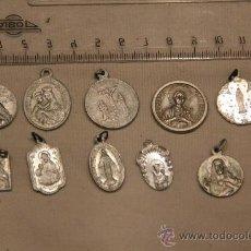 Antigüedades: LOTE DE 10 MEDALLAS RELIGIOSAS ANTIGUAS DE ALUMINIO, DESCONOCIDAS. Lote 37330544