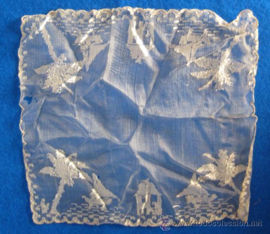 ANTIGUO Y CURIOSO PAÑUELO, CON BARCOS, PALMERAS Y TORRES 26 X 26 CM (Antigüedades - Moda - Pañuelos Antiguos)
