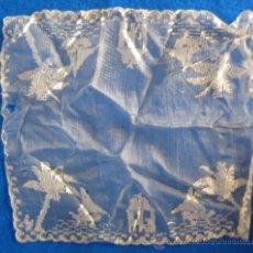 Antigüedades: ANTIGUO Y CURIOSO PAÑUELO, CON BARCOS, PALMERAS Y TORRES 26 X 26 CM. Lote 37404218