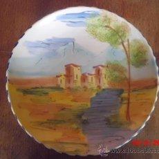 Antigüedades: PLATO PINTADO A MANO CON BONITO PAISAJE-TIENE 30 CM. . Lote 37350625