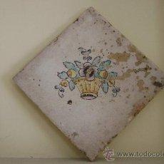 Antigüedades: AZULEJO . CESTO CON FLORES.VALENCIA.SIGLO XVIII. Lote 37351821