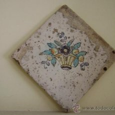 Antigüedades: AZULEJO CESTA CON FLORES.VALENCIA SIGLO XVIII. Lote 37352586