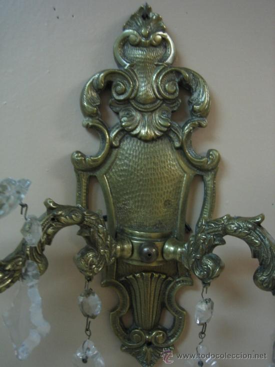 Antigüedades: Pareja de candelabros de bronce antiguos 30x30 cm. Funcionan - Foto 15 - 37388862