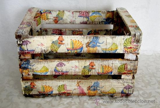 antigua caja de fruta decorada al estilo antigu Comprar Cajas
