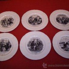 Antigüedades: JUEGO 6 PLATOS CERAMICA ROYALE BOCH - LA LOUVIERE - BELGIUM -. Lote 37382014