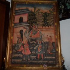 Antigüedades: TAPIZ HINDU GRANDE - SEDA PINTADA [SIN MARCO]. Lote 37409032
