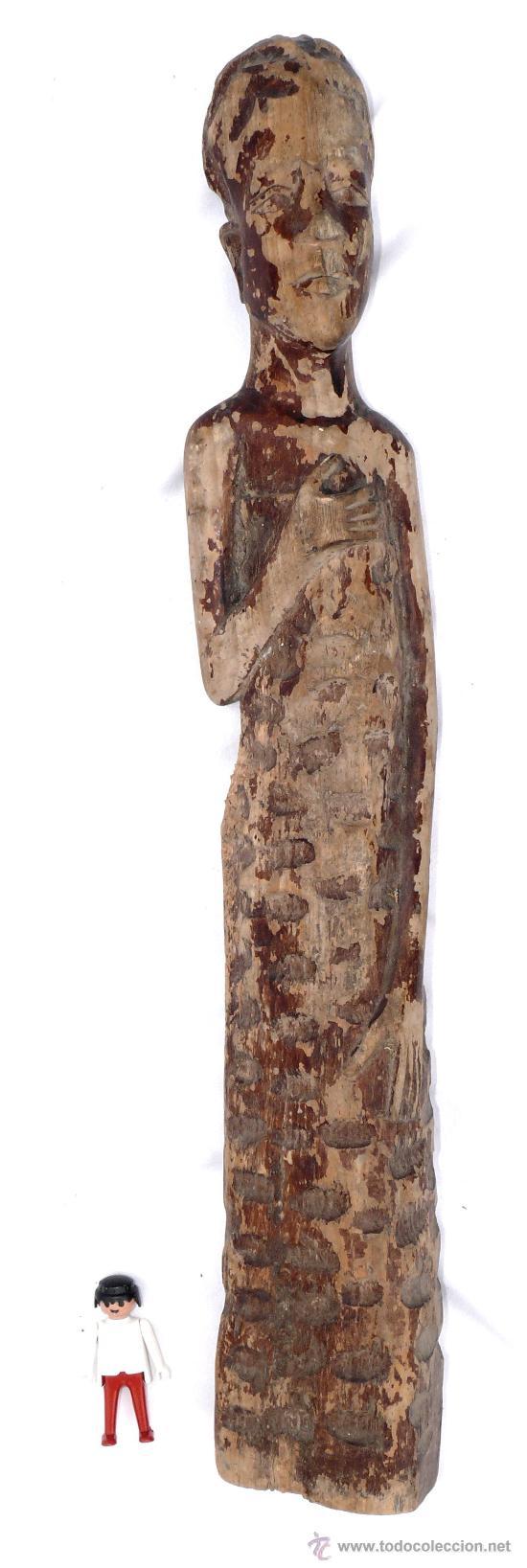 GRAN TALLA MADERA ANTIGUA DE MUJER AFRICANA DECORACION ETNICA (Antigüedades - Hogar y Decoración - Otros)