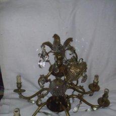 Antigüedades: ESTUPENDA LAMPARA ANTIGUA DE BRONCE O METAL Y CRISTAL - MIDE 58 CM DE ALTURA X 52 CM DE DIAMETRO. Lote 37488646