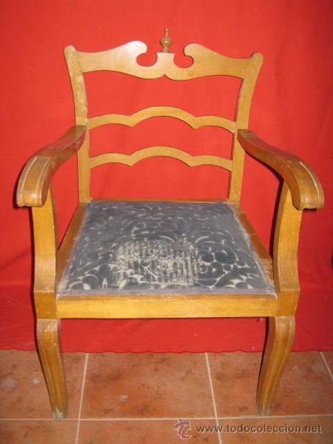 Bonita butaca de madera con original respaldo comprar - Sillones antiguos para restaurar ...