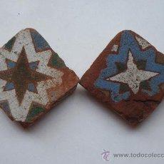 Antigüedades: LOTE DE DOS AZULEJOS DE TOLEDO. SIGLO XV-XVI.ARABE / MUDEJAR .TECNICA DE ARISTA. AZULEJO.. Lote 37508095