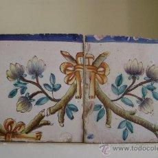 Antigüedades: DOS AZULEJOS DE UN PANEL.VALENCIA.SIGLOXVIII. Lote 37491001