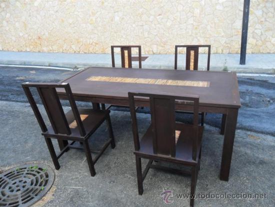 Antigüedades: mesa y 4 sillas orientales en madera - Foto 2 - 37491559