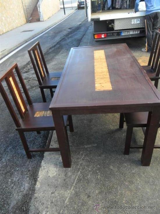 Antigüedades: mesa y 4 sillas orientales en madera - Foto 3 - 37491559