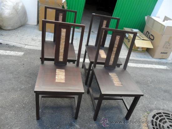 Antigüedades: mesa y 4 sillas orientales en madera - Foto 4 - 37491559