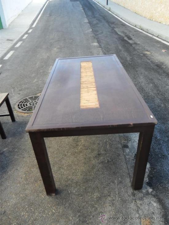 Antigüedades: mesa y 4 sillas orientales en madera - Foto 6 - 37491559