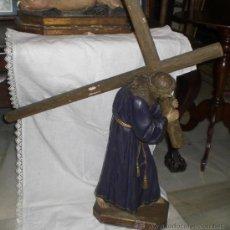 Antigüedades: ANTIGUO NAZARENO CON CRUZ AL HOMBRO. PASTA DE OLOT. OJOS DE CRISTAL. GRANDES DIMENSIONES. Lote 37495651