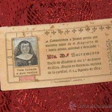 Antigüedades: EXTRAORDINARIA ESTAMPA-RELICARIO( TELA TOCADA A SUS RESTOS) DE SRA.Mª DEL SACRAMENTO.FINALES S.XIX.. Lote 37496952