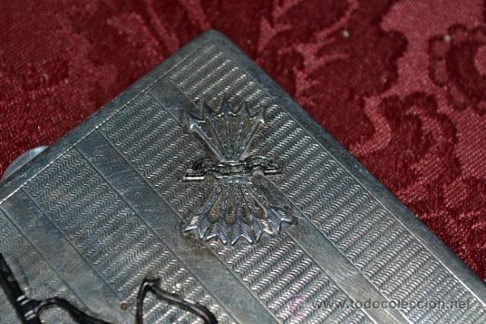 Antigüedades: INTERESANTE PITILLERA DE PLATA CONTRASTADA CON INSIGNIA DE LA FALANGE,PRIMO DE RIVERA E INSIGNIA - Foto 7 - 37509290