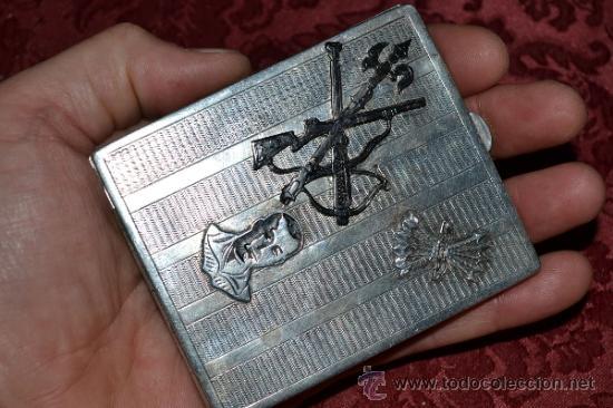 Antigüedades: INTERESANTE PITILLERA DE PLATA CONTRASTADA CON INSIGNIA DE LA FALANGE,PRIMO DE RIVERA E INSIGNIA - Foto 10 - 37509290