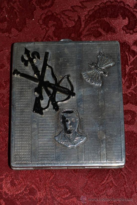 Antigüedades: INTERESANTE PITILLERA DE PLATA CONTRASTADA CON INSIGNIA DE LA FALANGE,PRIMO DE RIVERA E INSIGNIA - Foto 11 - 37509290