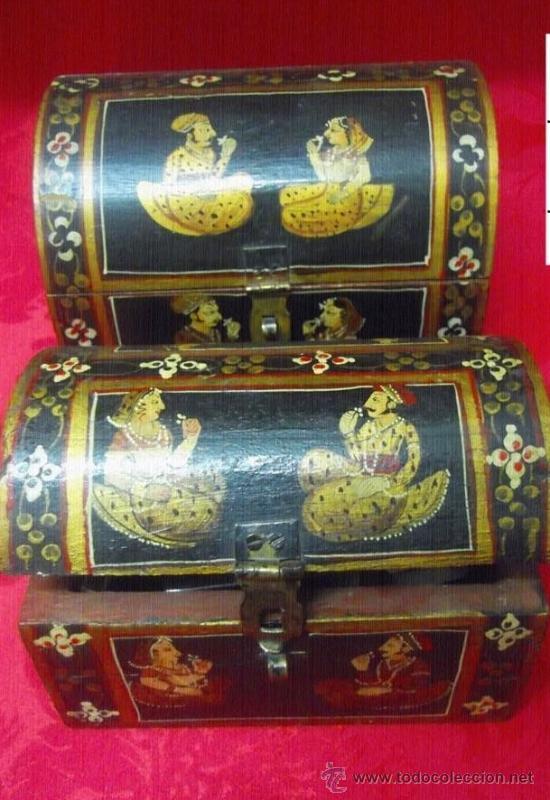 Lote dos baules indios pintados a mano comprar cajas antiguas en todocoleccion 37514974 - Baules pintados a mano ...