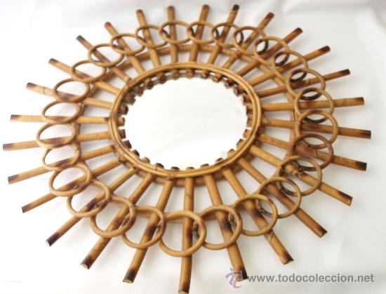 antiguo espejo tipo sol en madera de caa o bam Comprar Espejos