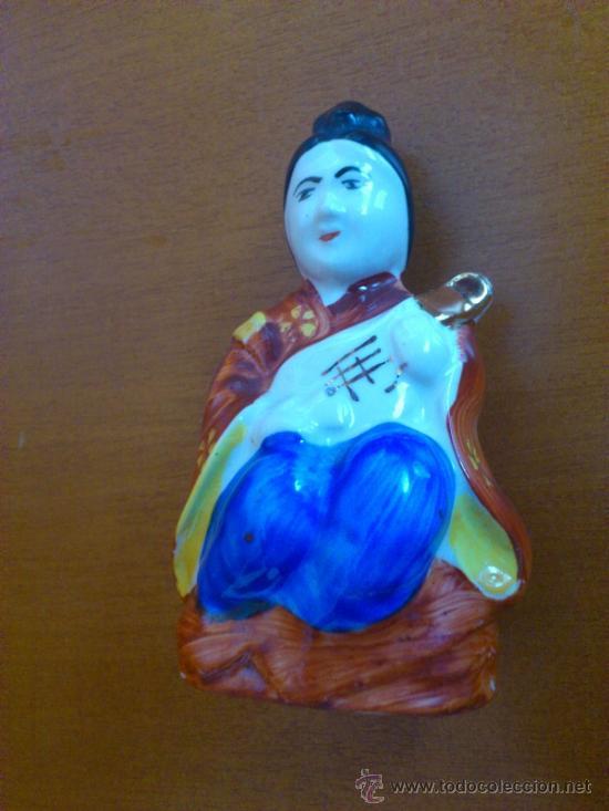 Antigüedades: Figura oriental de porcelana fina pintada a mano - Foto 7 - 37592781