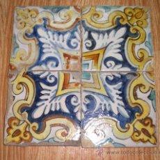 Antigüedades - 4 x Bonitos Azulejos Antiguos de MANISES, S.XIX - 37564328