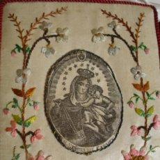 Antigüedades: GRAN ESCAPULARIO DE SEDA BORDADO VIRGEN DEL CARMEN SXIX . Lote 37609714