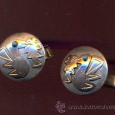Antigüedades: MON 741 PAREJA DE GEMELOS EN ORO Y PLATA 17 MM CIRCUNFERENCIA 17 MM LARGO PESO SOBRE 7 GRAMOS D. Lote 37595256