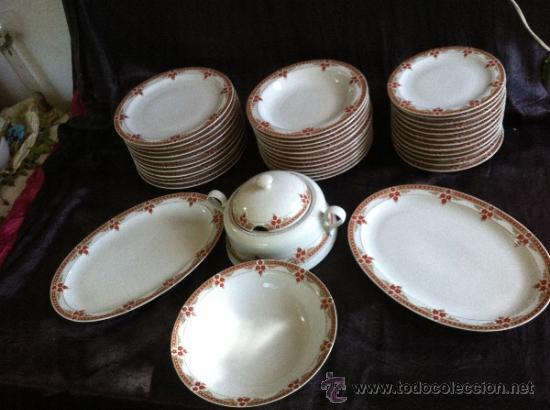 Juego vajilla antigua en porcelana numerada de comprar - Vajilla de porcelana ...