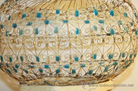 Antigüedades: JAULA ARTESANAL PARA PÁJAROS - MADERA Y METAL PINTADO - AÑOS 40/50 - Foto 5 - 84136843