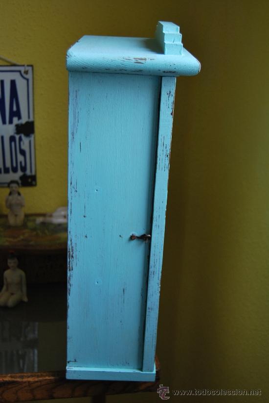 Antigüedades: PEQUEÑA VITRINA DE MADERA - ANTIGUA CAJA DE RELOJ - Foto 10 - 61717836