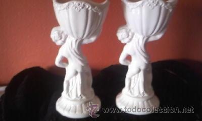 Antigüedades: Preciosa pareja de copas Sujetas por niños al hombro porcelana CAPODIMONTE - Foto 7 - 37620805