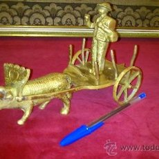 Antigüedades: CARRO DE BUEYES EN BRONCE. Lote 37639031