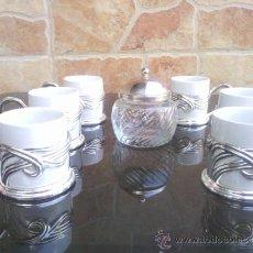Antigüedades: PRECIOSO JUEGO DE CAFE CON BAÑO DE PLATA, . Lote 37639599