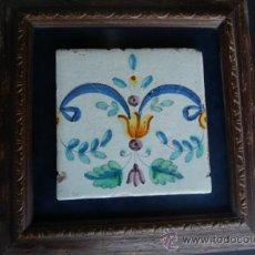 Antigüedades: ANTIGUO AZULEJO POSIBLE DE MANISES ENMARCADO.. Lote 37649331