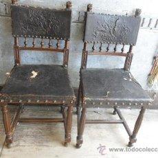 Antigüedades: PAREJA DE SILLAS CON FIGURAS . Lote 37652862