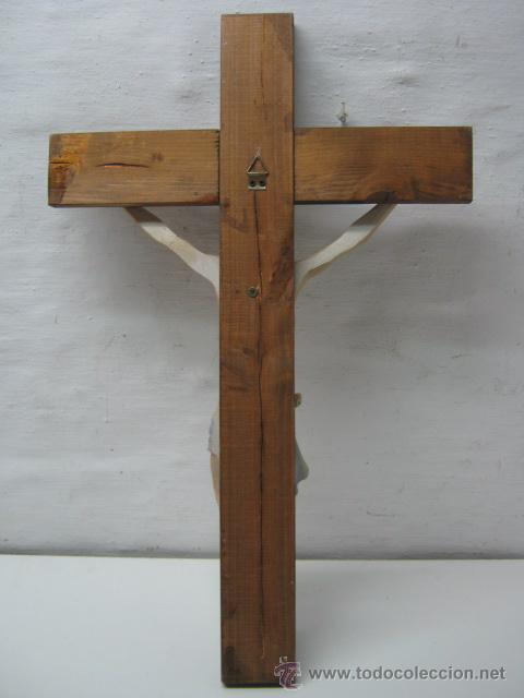 Antigüedades: Antiguo Gran Cruz Crucifijo Cristo en metal - 45 cm - Foto 3 - 37667254