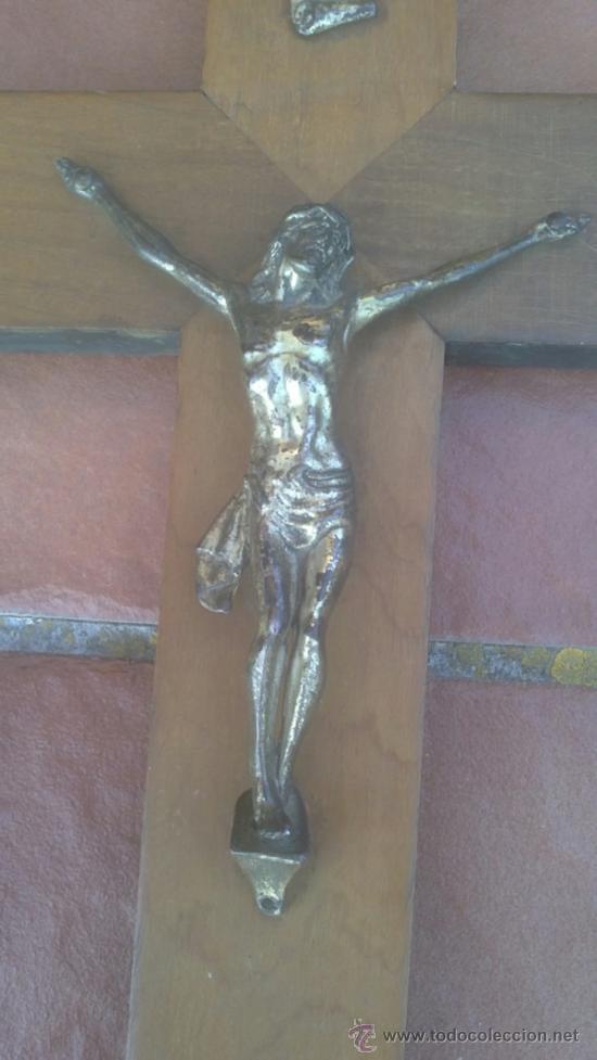 Antigüedades: ANTIGUO CRUCIFIJO-CRUZ MADERA,CRISTO METAL .(40X24CM) - Foto 2 - 37697045