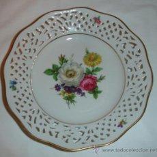 Antigüedades - plato antiguo porcelana aleman y bordes calados - 37680933