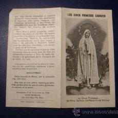 Antigüedades: DIPTICO DE NTRA. SRA. DEL ROSARIO DE FATIMA. PAMPLONA. 1946. Lote 37695690