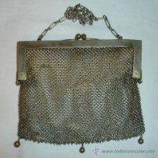 Antigüedades: ANTIGUO BOLSO O MONEDERO MALLA DE PLATA P.P.S PASADO. Lote 37696651