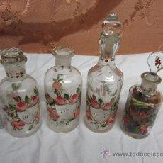 Antigüedades: PRECIOSO JUEGO DE 4 FRASQUITOS DE PERFUME HOUBIGANT CHARDIN / HACIA 1845. Lote 38210429
